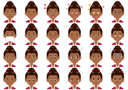 Businesswoman various expressions set. Vector characters isolated on a white background.  イラスト・ベクター素材