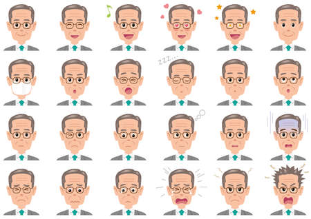 Businessman various expressions set. Vector characters isolated on a white background.