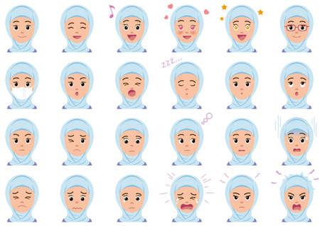Businesswoman various facial expressions set. Vector characters isolated on a white background.