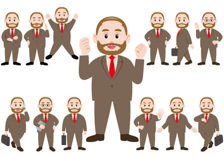 Businessman in different poses isolated on white background. Vector illustration set.