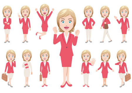 Businesswoman in different poses isolated on white background. Vector illustration set.