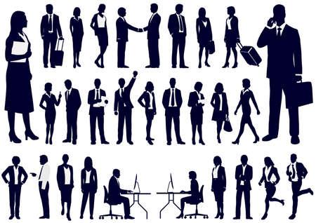 Ensemble + de + Business + people + en + action + silhouettes% 2C + vecteur + illustration. Vecteurs