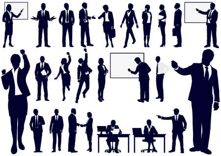 Set + of + Business + people + in + action + silhouettes% 2C + vector + illustration.