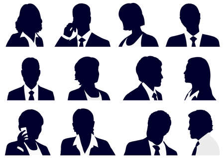Conjunto + de + personas + de + negocios + siluetas% 2C + ilustración + vectorial.