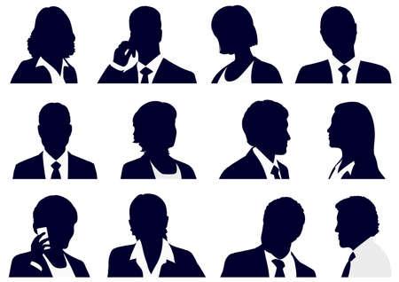 Ensemble + de + Entreprise + personnes + silhouettes% 2C + vecteur + illustration.