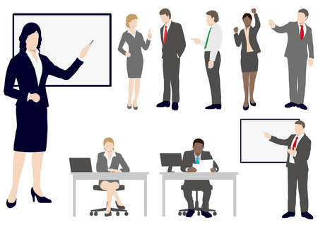 Set of business people in flat style, vector illustration.
