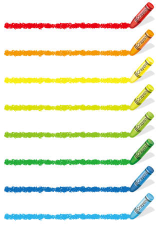 Set of colorful crayon design elements isolated on a white background. Vector illustration.  イラスト・ベクター素材