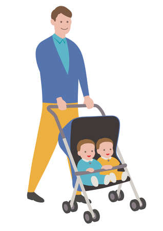 Father with babies in a stroller, isolated on white background. Vector illustration.