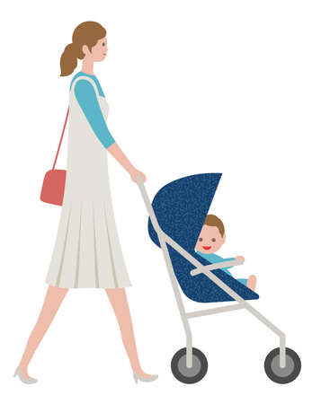 Mother with a baby in a stroller, isolated on white background. Vector illustration.
