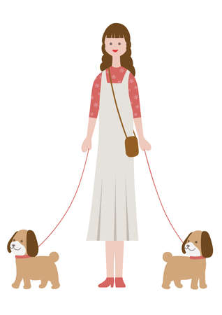 Woman walking dogs, isolated on a white background. Flat style vector illustration.