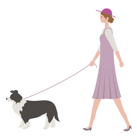 Woman walking a dog, isolated on a white background. Flat style vector illustration.