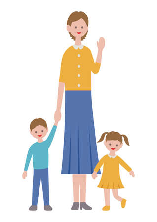 Mother with kids in flat style, isolated on white background. Vector illustration.