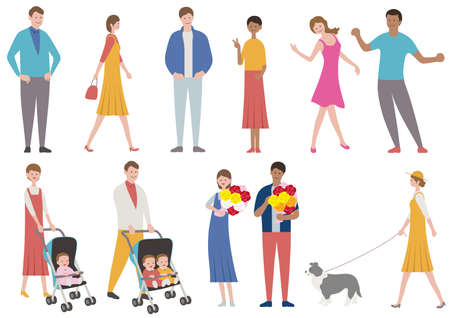 Set of people in various lifestyle isolated on a white background. Vector flat illustration.  イラスト・ベクター素材