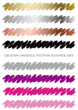 Set of colorful crayon doodle banners isolated on a white background. Vector illustration.  イラスト・ベクター素材