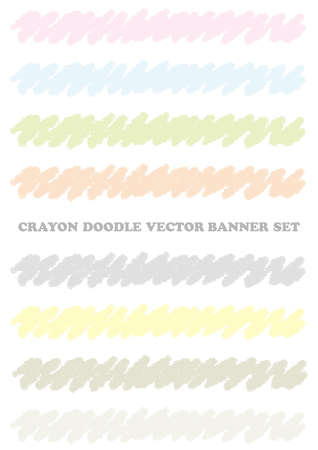 Set of pastel-colored crayon design elements isolated on a white background. Vector illustration.