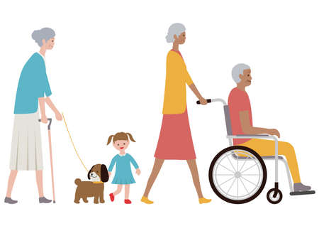 Set of old people, a grandchild and a dog isolated on a white background. Vector illustration in a flat style. Banque d'images - 126031082