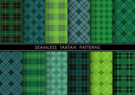 Seamless Tartan plaid set, vector illustration. Horizontally and vertically repeatable.