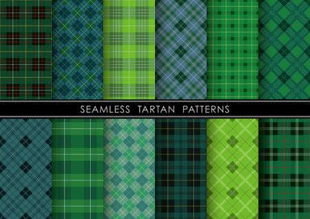Set plaid scozzese senza cuciture, illustrazione vettoriale. Ripetibile orizzontalmente e verticalmente.