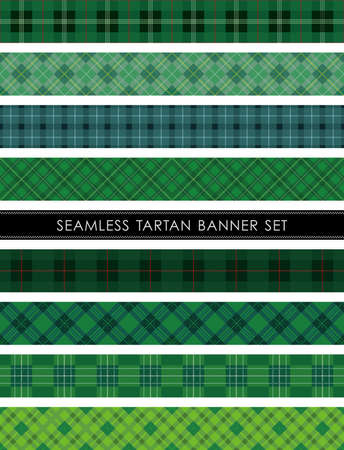 Seamless Tartan plaid banner set, vector illustration. Horizontally and vertically repeatable. Illustration