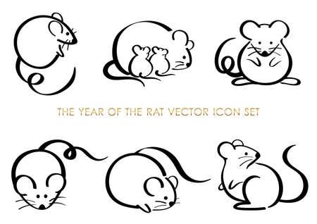 Ensemble de l'année des symboles du zodiaque rat isolés sur fond blanc. Illustration vectorielle. Vecteurs