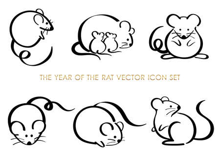 Set van het jaar van de rat dierenriem symbolen geïsoleerd op een witte achtergrond. Vector illustratie. Vector Illustratie