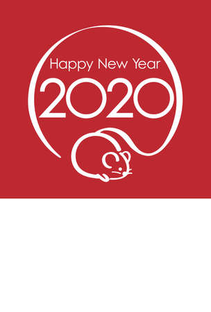 The Year of the Rats Japanese New Year's card template with text space, vector illustration.