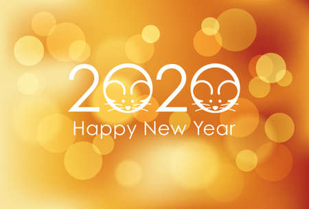 2020, the Year of the Rat, New Year's card template, vector illustration.