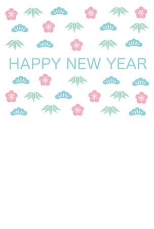 Japanese New Year's card template, vector illustration.