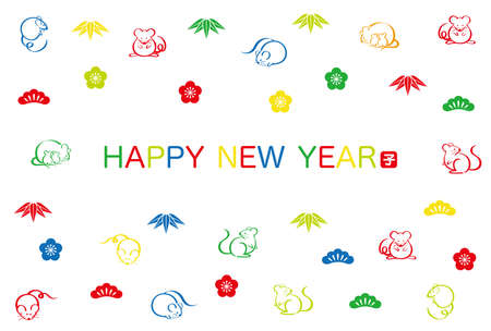 """Year of the Rat New Year's card template, vector illustration. (Text translation: """"Rat"""")"""