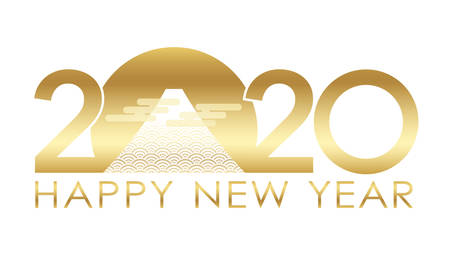2020 New Year's greeting symbol with Mt. Fuji. Vector illustration isolated on a white background.