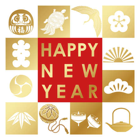 New Year's greeting symbol with Japanese traditional lucky charms. Vector illustration isolated on a white background. Illustration