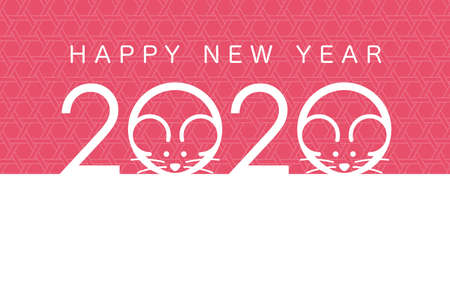 2020, the Year of the Rat, New Year's card template. Vector illustration.
