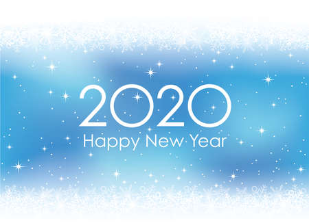 2020 New Year's card background with snowflakes, vector illustration.