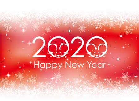 2020 - the year of the Rat - New Year's card background with snowflakes, vector illustration.  イラスト・ベクター素材