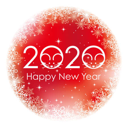 2020, the Year of the Rat, New Year's greeting symbol. Vector illustration isolated on a white background.