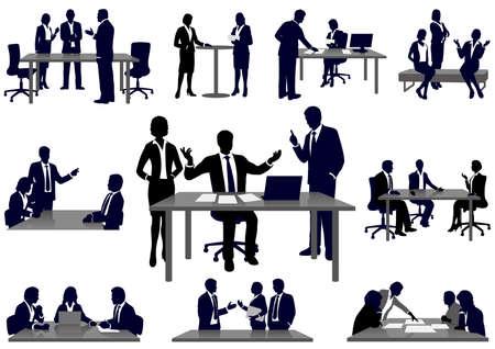 Set van mensen uit het bedrijfsleven in actie silhouetten, vectorillustratie.