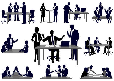 Set of business people in action silhouettes, vector illustration.