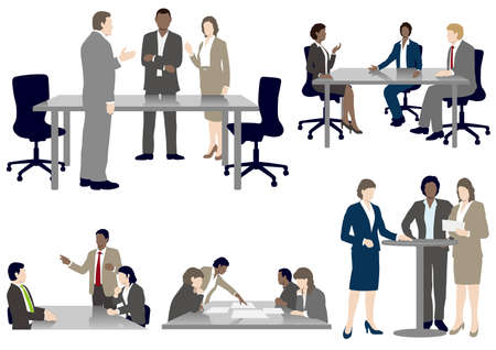 Set of business people in flat style, isolated on a white background. Vector illustration. Illustration