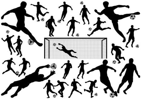 Set of soccer players silhouettes isolated on a white background. Vector illustration. Illustration