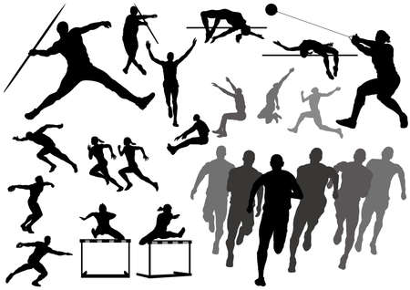 Set of track and field athletes silhouettes isolated on a white background. Vector illustration.