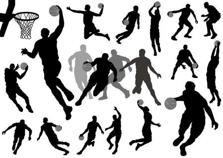 Set of basketball players silhouettes isolated on a white background. Vector illustration.