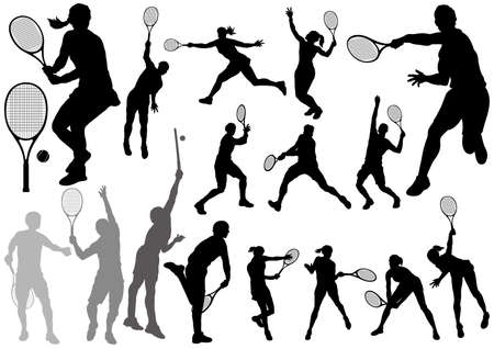Set of tennis player silhouettes isolated on a white background. Vector illustration.  イラスト・ベクター素材