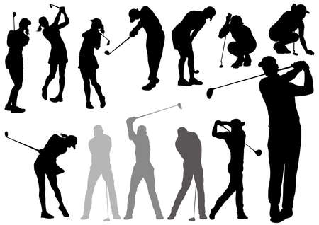 Set of golf players silhouettes isolated on a white background. Vector illustration. Illustration