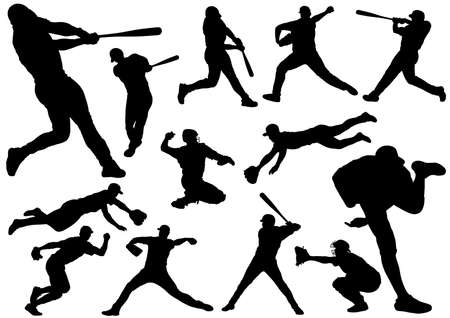 Baseball players silhouette set. Vector illustration isolated on a white background.