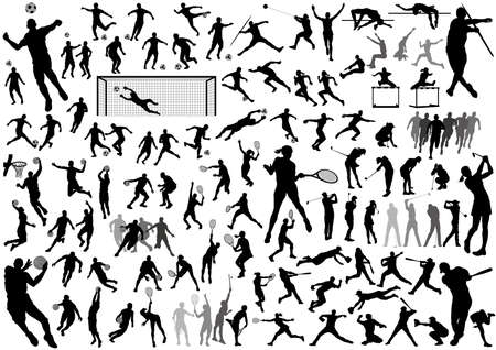 Sports silhouette vector set isolated on a white background.