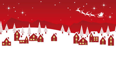 Seamless vector winter townscape illustration with text space. Horizontally repeatable. Illustration