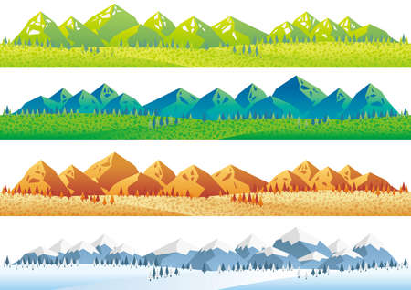 Set of vector seamless mountains and fields in four seasons. Horizontally repeatable. Illustration