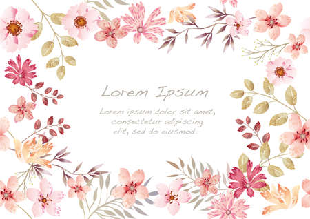 Watercolor seamless floral background isolated on a white background, vector illustration. Horizontally and vertically repeatable. Çizim