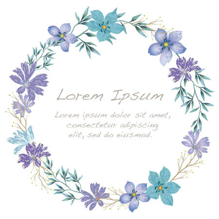 Vector watercolor flower frame isolated  on a white background.