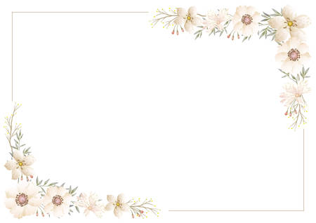 Vector watercolor floral frame isolated on a white background.